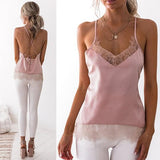 Pink Patchwork Lace Condole Belt V-neck Fashion Vest