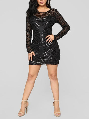 New Black Patchwork Sequin Grenadine Long Sleeve Sparkly Glitter Birthday Party Mini Dress