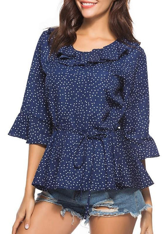 Blue Polka Dot Print Ruffle Sashes Round Neck 3/4 Sleeve Blouse
