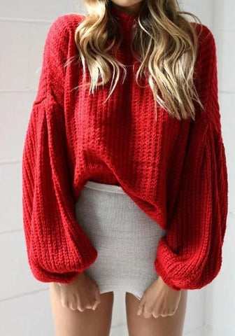 New Red High Neck Lantern Sleeve Fashion Pullover Sweater