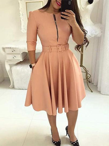 Onlinechoic Pink Pockets Belt Zipper Long Sleeve Party Midi Dress