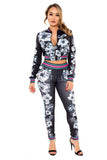 Flower Print Crop Top Coat with Skinny Pants Two Pieces Set
