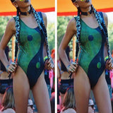 Green Patchwork Tai Chi Print Round Neck Sleeveless One Piece Skinny Swimwear