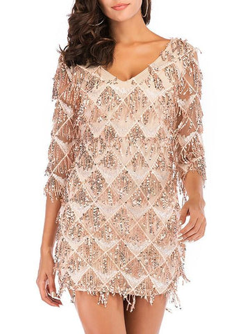 Apricot Sequin Tassel V-neck 3/4 Sleeve Cocktail Party Mini Dress