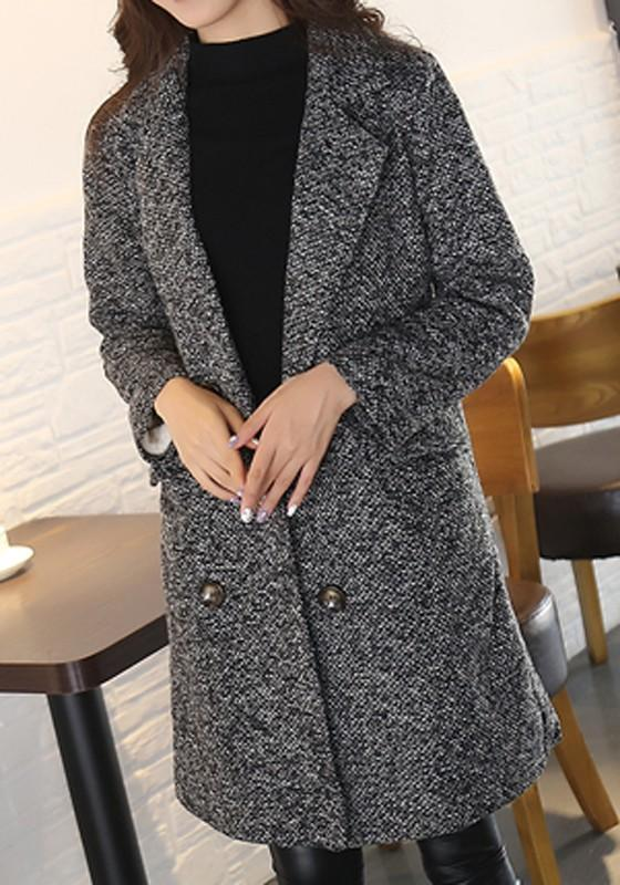 Grey Pockets Buttons Turndown Collar Long Sleeve Coat