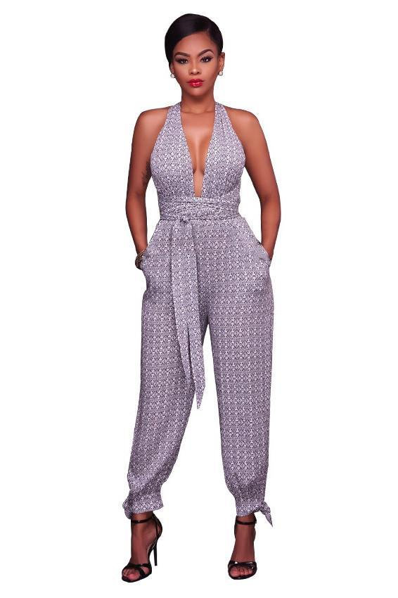 V-neck Print V-neck One Shoulder High Waist Long Jumpsuit