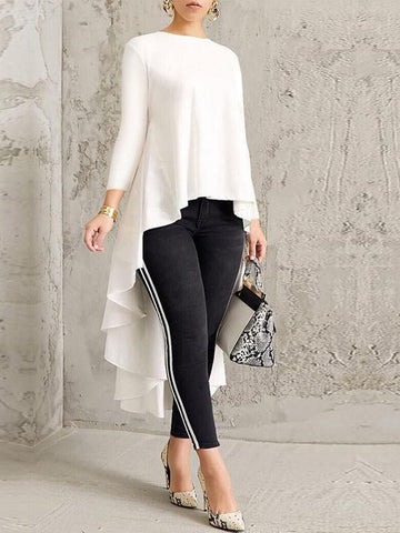 New White Pleated High-Low Round Neck Long Sleeve Swallowtail Formal Elegant Blouse