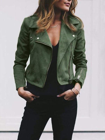 New Green Zipper Square Neck Long Sleeve Fashion Coat