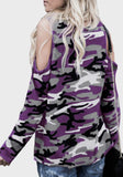 Purple Camouflage Cut Out Sleeve Casual Going out T-Shirt