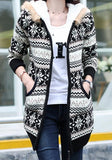 Black Floral Pockets Hooded V-neck Long Sleeve Cardigan Coat