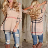 Khaki Plaid Buttons V-neck Elbow Sleeve Casual Blouse