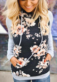 Black-Grey Patchwork Floral Drawstring Pockets Casual Hooded Sweatshirt