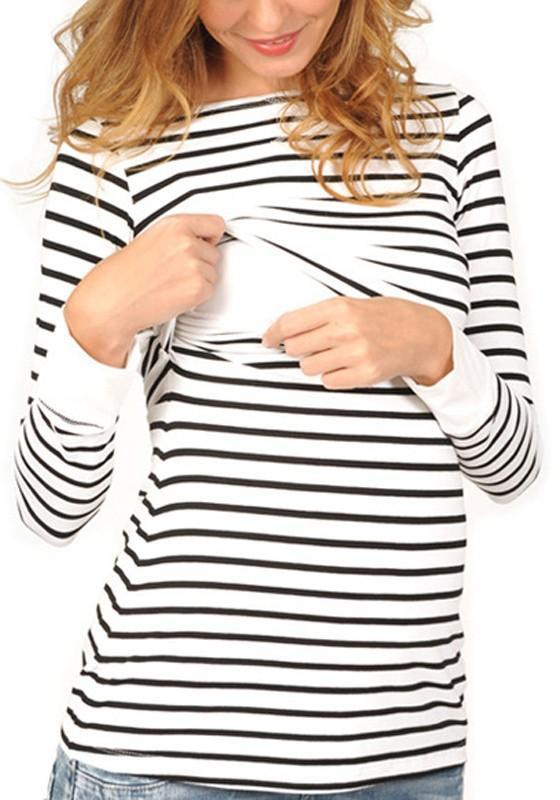 White-Black Striped Breastfeeding Multi-fonction Round Neck Long Sleeve Casual Maternity T-Shirt