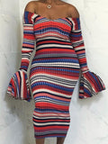 New Red Striped Off Shoulder Long Bell Sleeve Sweater Fashion Maxi Dress