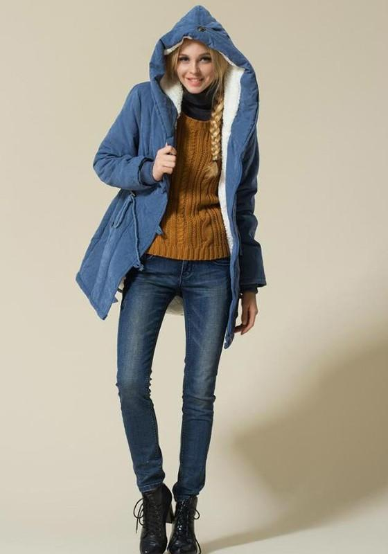 Blue Drawstring Buttons Casual Thick Hooded Coat
