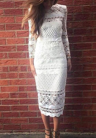 New White Cut Out Bodycon Band Collar Elegant Party Midi Dress