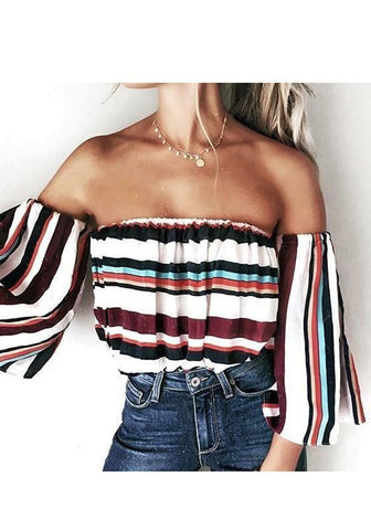 Black Striped Boat Neck Long Sleeve T-Shirt