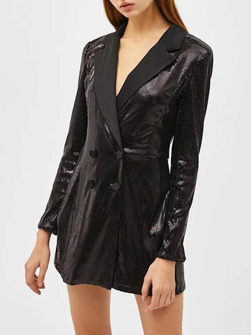 Black Patchwork Sequin Buttons Turndown Collar Fashion Outerwear