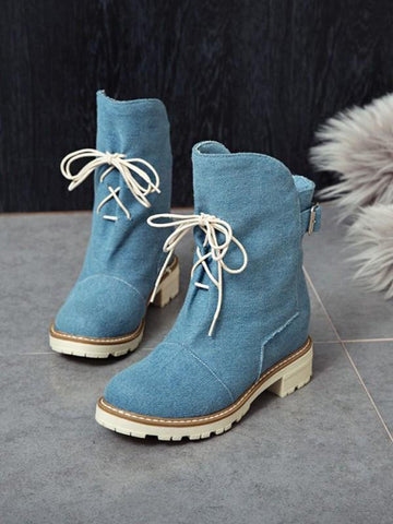 New Blue Round Toe Fashion Ankle Boots
