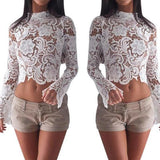 White Floral Cut Out Zipper Lace Round Neck Long Sleeve Blouse