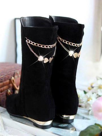 New Black Round Toe Flat Metal Decoration Chain Fashion Mid-Calf Boots