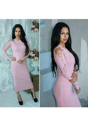 Pink Drawstring Cut Out Round Neck Going out Midi Dress