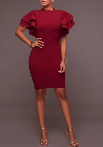 Burgundy Cut Out Double Ruffle Short Sleeve Bodycon Party Mini Dress