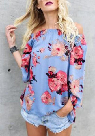 Blue Floral Long Sleeve Off Shoulder Casual Loose Blouse