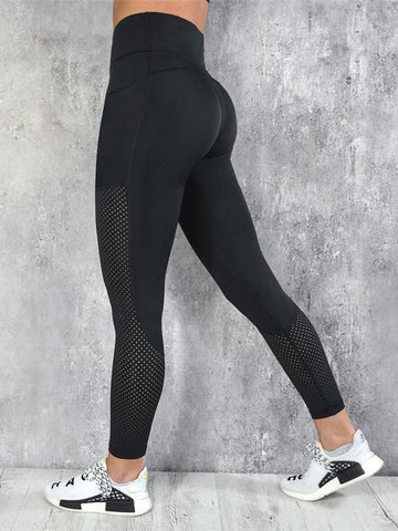 New Black Patchwork Cut Out Skinny Sports Legging