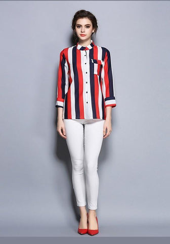 Multicolor Buttons Round Neck Striped Casual Blouse