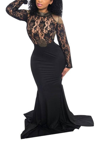Black Lace Grenadine Mermaid Cut Out High Waisted Party Maxi Dress