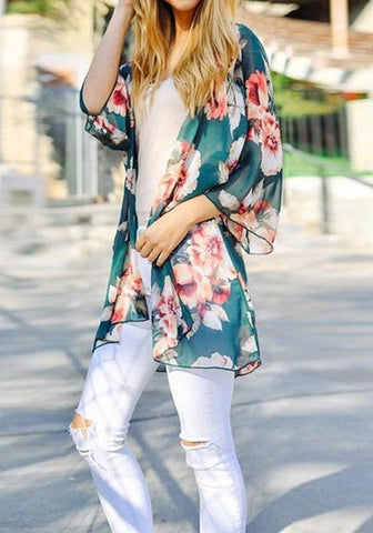 Navy Blue Floral Print Three Quarter Length Sleeve Casual Coat