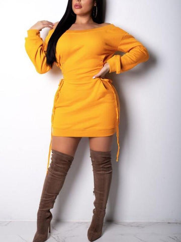 Yellow Irregular Lace-up Off Shoulder Long Sleeve Casual Sweatshirt Mini Dress