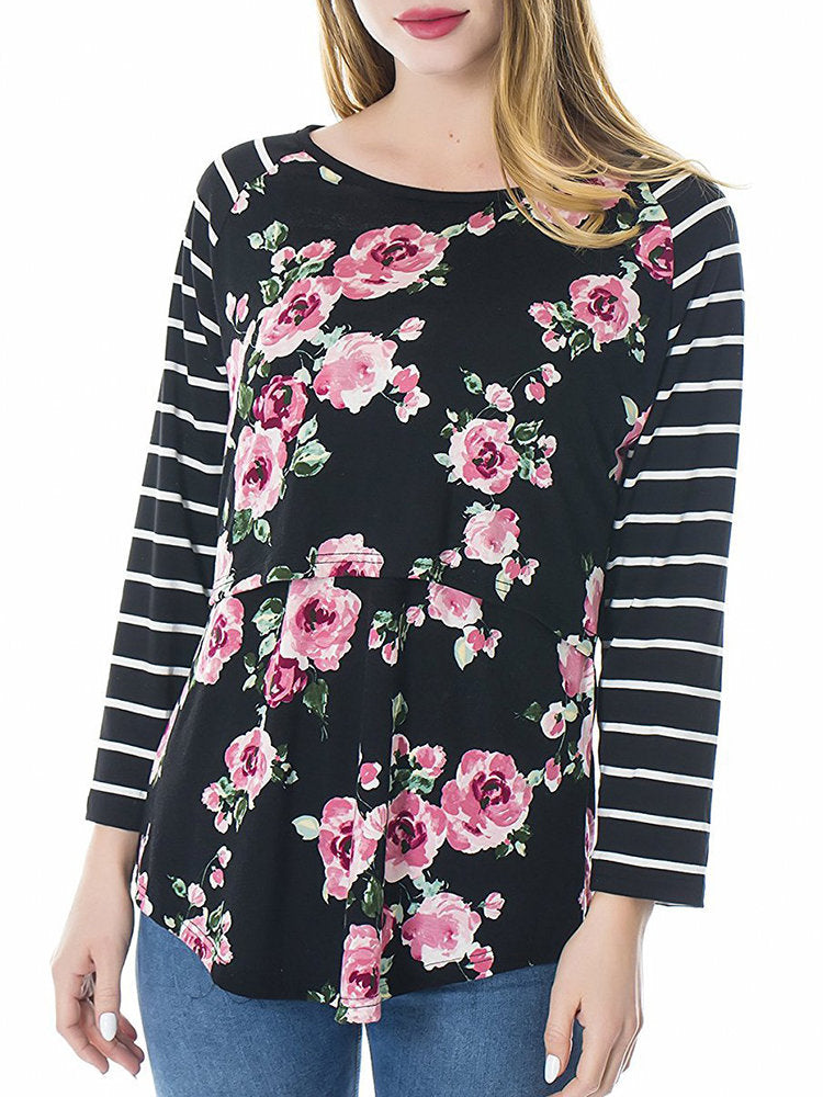 Newbabychic Floral Print Maternity Long Sleeve Cotton Nursing Tops