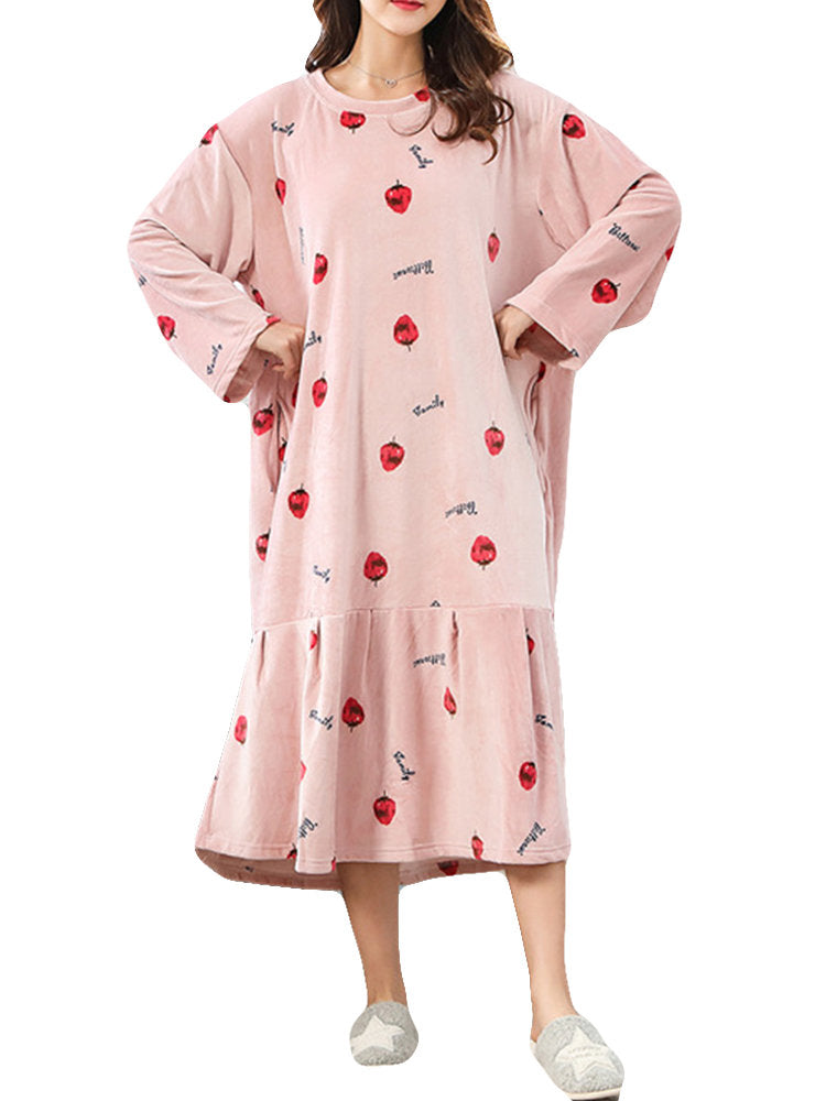 Newbabychic Flannel Printed Soft Warm Maternity Women Plus Size Pajama Dress 5XL 6XL