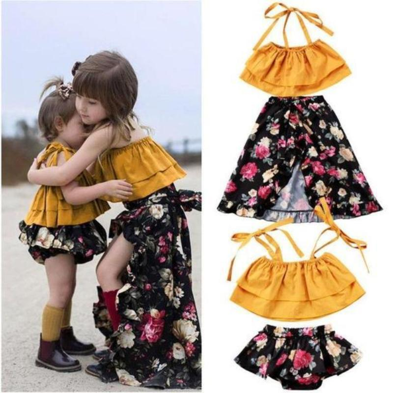 2pcs. Off Shoulder Ruffle Floral Sisters Matching Outfits Kids Now Apparel