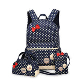 3 Pcs/Set Polka Dot Canvas Kids School Bags Kids Now Apparel