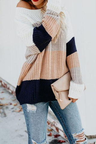 Onlinechoic Striped Pplice Loose Multi-color Sweater