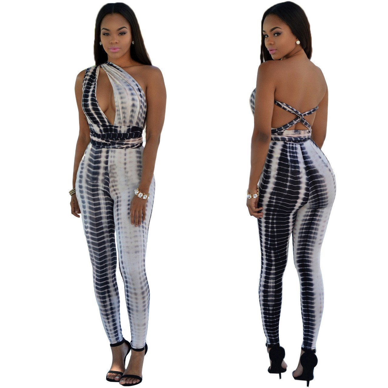 Print Spaghetti Straps Cut Out Long Backless Jumpsuit