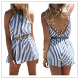 Stripe Spaghetti Straps Sleeveless Short Backless Jumpsuit