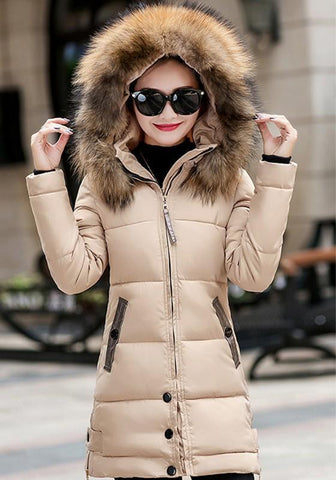 Khaki Pockets Fur Zipper Hooded Long Sleeve Fashion Outerwear