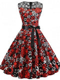 Onlinechoic Red Patchwork Floral Print Lace Sashes Draped Round Neck Sleeveless Elegant Midi Dress