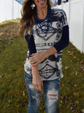 Blue White Tribal Print Round Neck Long Sleeve Country Cowgirl Bohemian T-Shirt