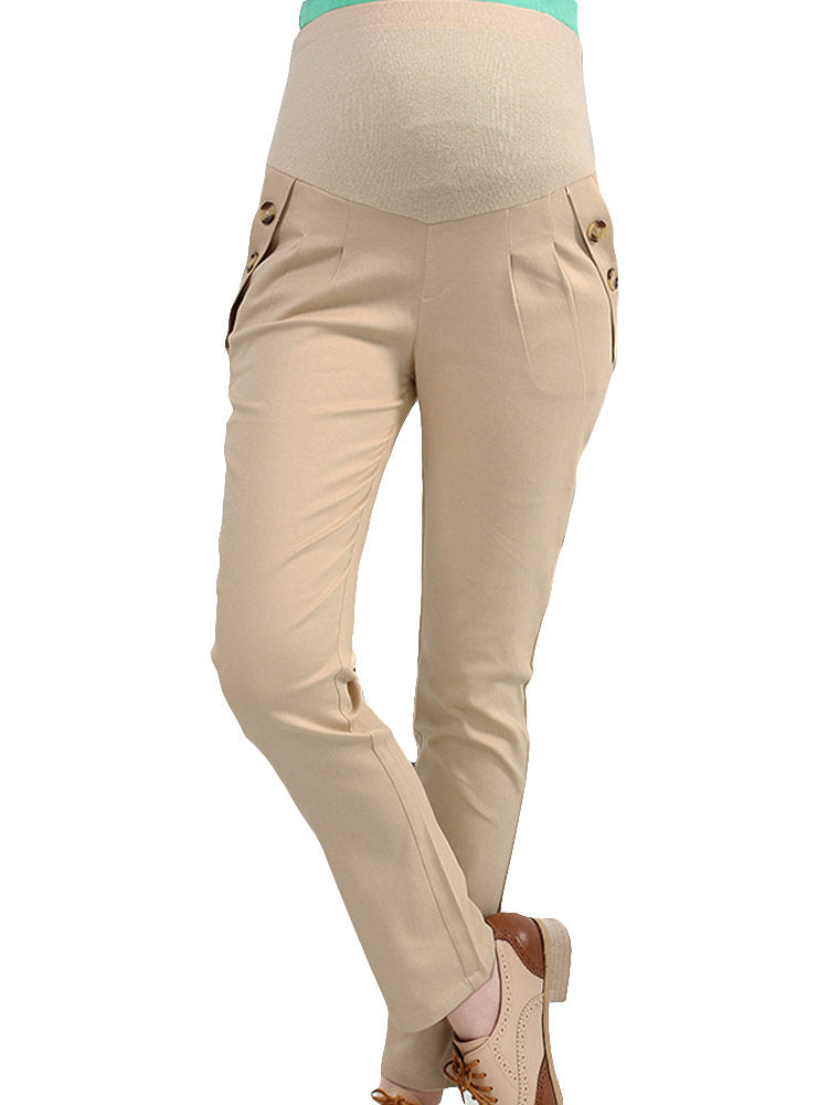 Newbabychic Pregnant Women Soft Pencil Pants Elastic Waist Trousers