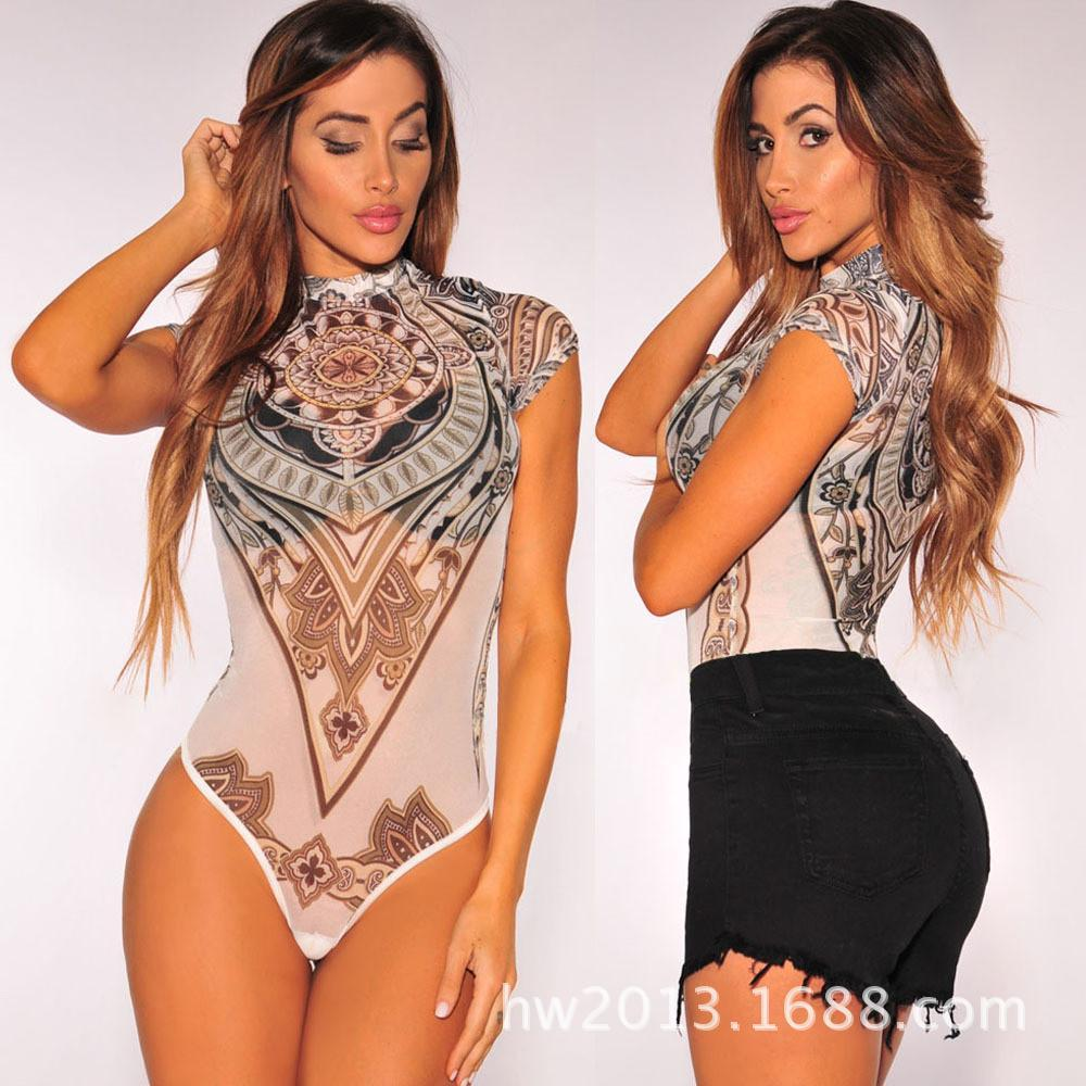 Mesh Transparent Short Sleeves Short Club Jumpsuit