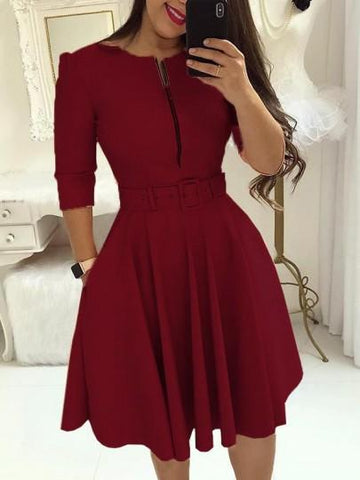 Onlinechoic Pockets Belt Zipper Long Sleeve Party Midi Dress