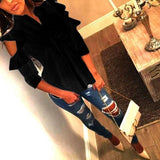 Black Single Breasted Cut Out Ruffle Turndown Collar Fashion Blouse