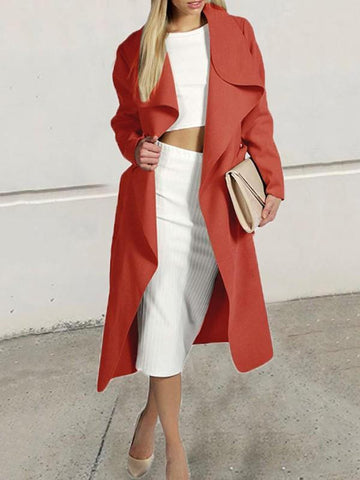 Red Pockets Sashes Turndown Collar Long Sleeve Elegant Coat