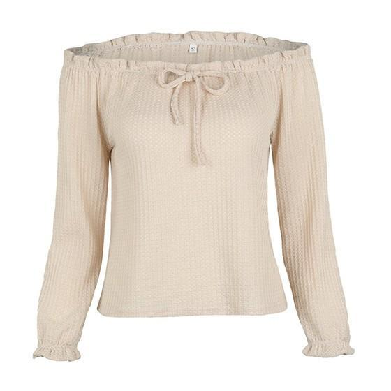 Khaki Ruffle Boat Neck Long Sleeve Honey Girl Blouse