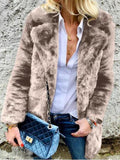 New Khaki Faux Fur Turndown Collar Fuzzy Long Sleeve Casual Coat